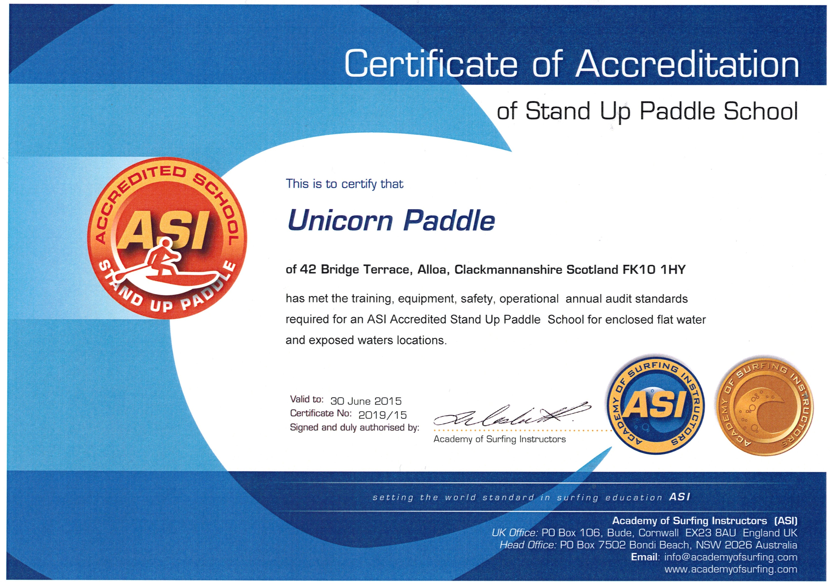 Unicorn paddle links instructor water safety award certificate of accreditation our insurance 1betcityfo Image collections